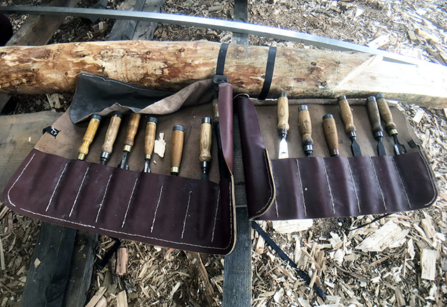 Round Wood Timber Framing Tools - Chisels in roll.